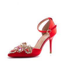 18年春夏新款中式婚鞋 一字扣绸缎水钻高跟鞋