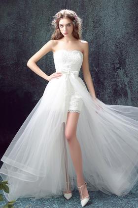 前短后长可拆卸拖尾新娘婚纱礼服