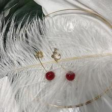 【满66包邮】复古樱桃红玻璃珠吊坠少女气质耳环简约显瘦耳饰
