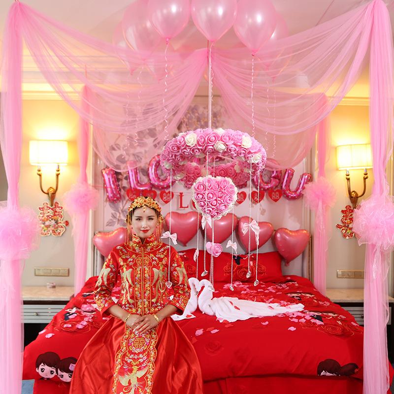 婚房布置 结婚用品 婚房创意套餐婚礼用品 花球纱幔