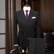新款双排扣婚礼西服  新郎/伴郎结婚条纹西服两件套