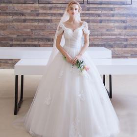 303新款夏季新娘结婚韩式简约双肩齐地一字肩婚纱蕾丝v领大码