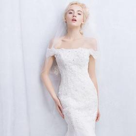 306新款春季新娘结婚一字肩鱼尾修身韩版蕾丝小拖尾婚纱礼服