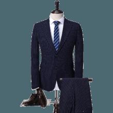 新款婚礼西服两件套 修身条纹款男士正装西服