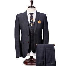 男士西装套装 时尚格子新郎西服  结婚礼服两件套