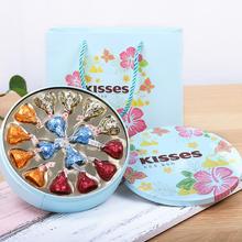 臻忆美创意婚礼马口铁喜糖礼盒圆形结婚好时巧克力16颗喜糖成品