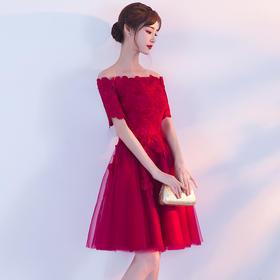 新品上市 韩版公主 时尚一字肩!新款短款一字肩敬酒回门服