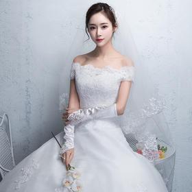 一字肩婚纱礼服 新款公主新娘结婚韩版齐地长袖显瘦简约秋