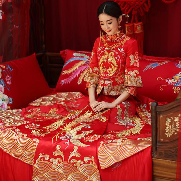 秋冬新品送头饰!新款龙凤褂长袖敬酒服新娘中式结婚礼服