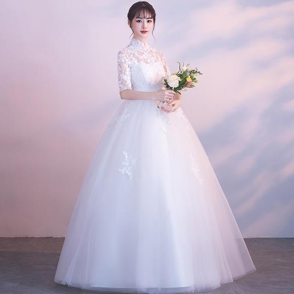 孕妇款显瘦!新款秋冬长袖齐地大码孕妇高腰立领婚纱新娘