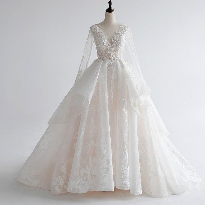 一字肩长袖新娘婚纱礼服新款长拖尾v领公主梦幻宫廷森系简约