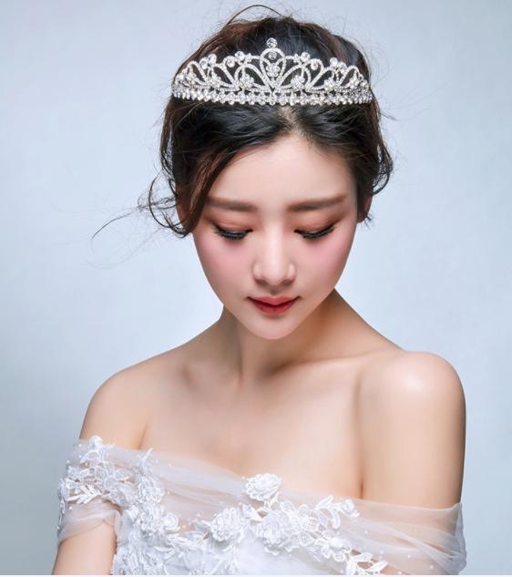2017大皇冠新娘头饰日韩式结婚发饰新款欧式婚礼盘发饰品婚纱