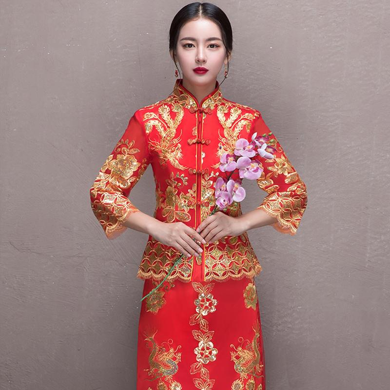 2017新款结婚秀和服古装婚纱秀禾服新娘中式敬酒服旗袍270图片