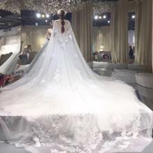 新品!婚纱礼服2018新款新娘结婚一字肩中袖拖尾韩式修身齐地