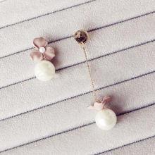【满66包邮】夏季清新甜美磨砂花朵不对称珍珠吊坠气质长款耳坠
