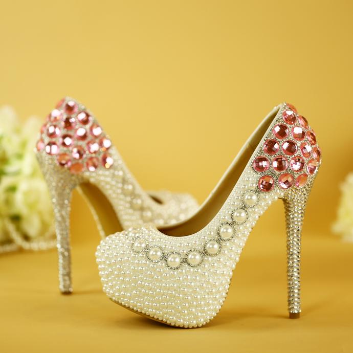 340水晶鞋粉色婚纱鞋珍珠鞋婚鞋白色新娘鞋水钻高跟鞋