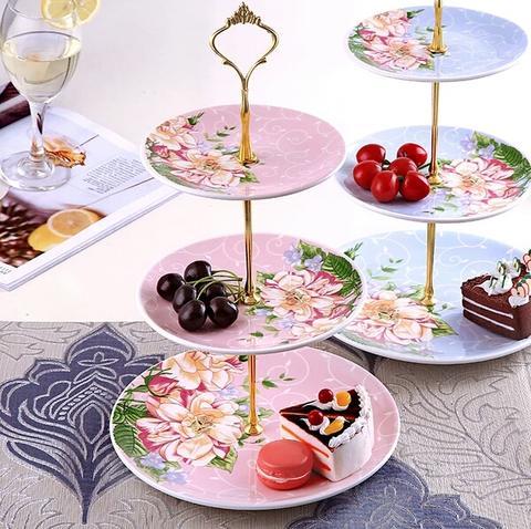 欧式陶瓷三层水果盘子客厅创意家用蛋糕架干果盘下午茶点心托盘
