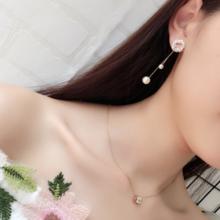 【满66包邮】珍珠坠子镶钻镂空圆圈耳钉甜美名媛百搭耳环