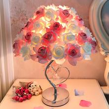 送闺蜜 送亲友 玫瑰花水晶台灯卧室床头灯