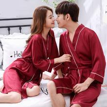 高档结婚丝绸情侣睡袍浴袍丝绸薄款睡衣女性感情侣家居服