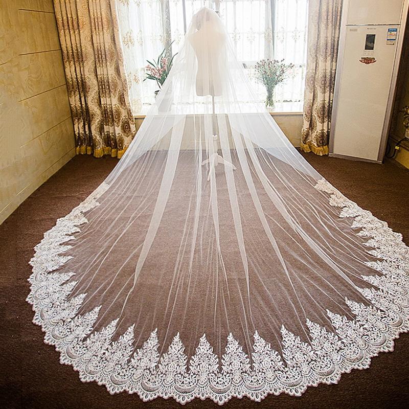 头纱新娘婚纱礼服欧式复古头纱 2017新款超长加宽新娘