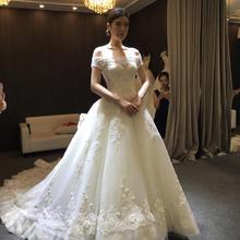 一字肩婚纱礼服2017新款结婚韩版显瘦宫廷大码新娘长拖尾奢华