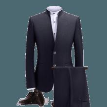 男士修身立领中山装 时尚正装新郎结婚礼服两件套 顺丰包邮