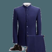 中式新郎修身中山装两件套