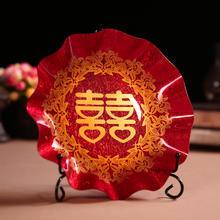 39包邮婚礼女方陪嫁结婚庆用品红色果盘喜庆布置水果糖果盘托盘