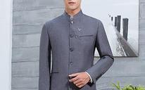 中山装套装 男士中华立领西服 中式修身新郎礼服