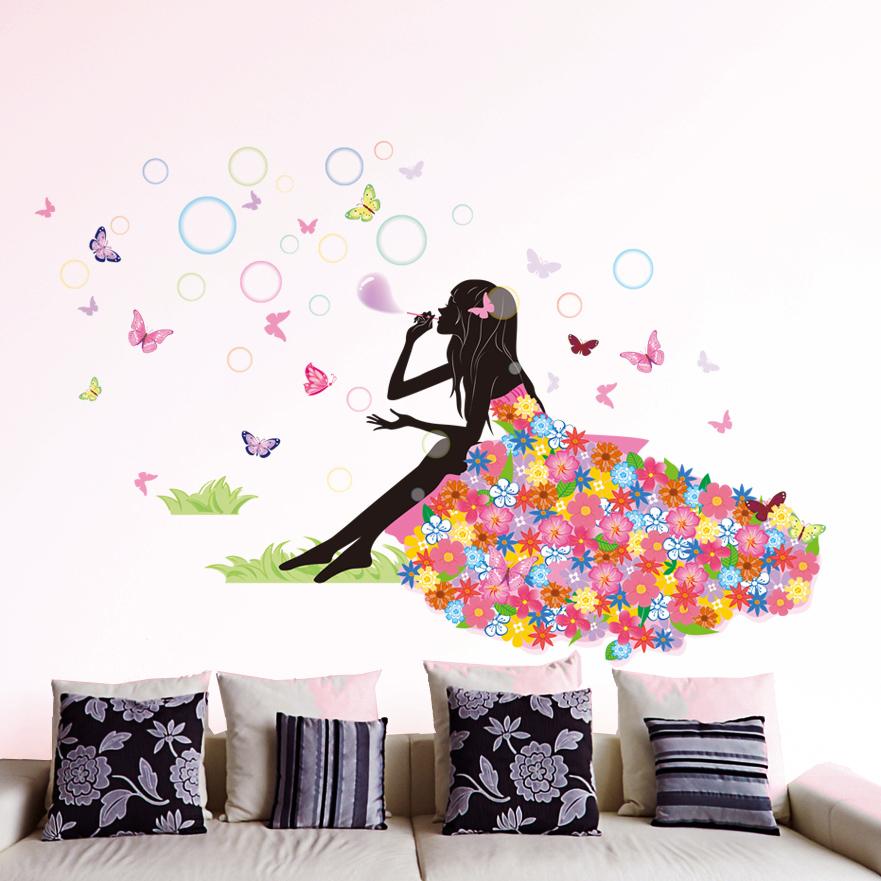 卧室床头沙发背景墙壁 蝴蝶墙贴纸可爱女孩