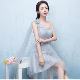 秋季新款伴娘服短款灰色伴娘团礼服姐妹裙小礼服显瘦
