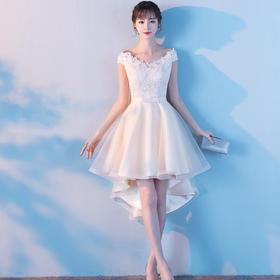 新款晚礼服前短后长香槟色伴娘服韩版小礼服女生日宴会