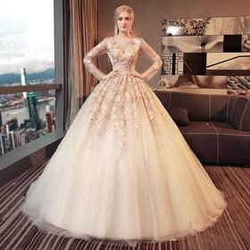 婚纱礼服 新款新娘结婚欧美宫廷公主奢华长拖尾长袖显瘦