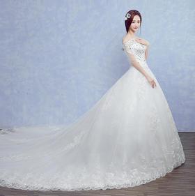 七件套!秋冬新品 新款拖尾韩版显瘦新娘一字肩轻婚纱森系