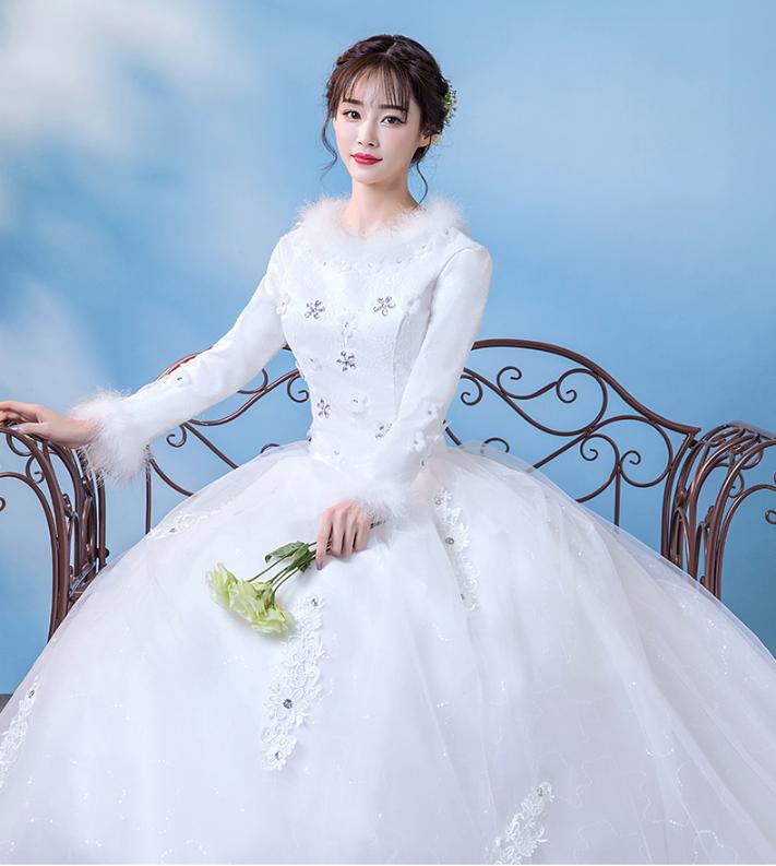 冬季婚纱礼服新娘长袖齐地冬天保暖加厚公主白色简约