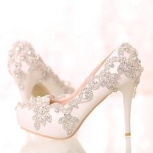 新娘鞋细跟敬酒鞋水晶鞋婚鞋高跟鞋白色水钻尖头浅口单鞋女鞋新品