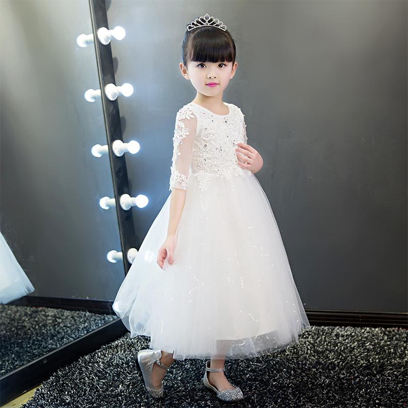 儿童礼服公主裙花童女童婚纱裙蓬蓬裙钢琴演出服主持