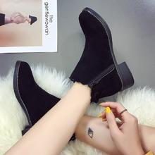 磨砂马丁靴女粗跟短靴蝴蝶结女靴子2017新款春秋单靴中跟百搭