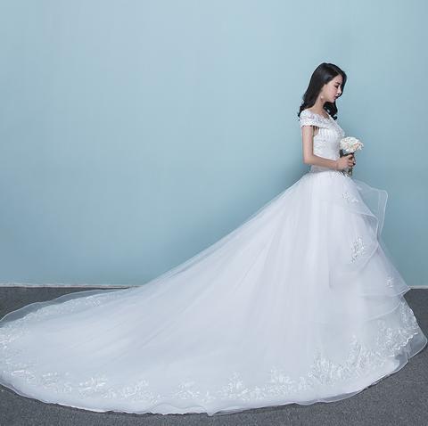 一字肩婚纱礼服2017新款韩式新娘结婚大码显瘦齐地婚纱公主蓬