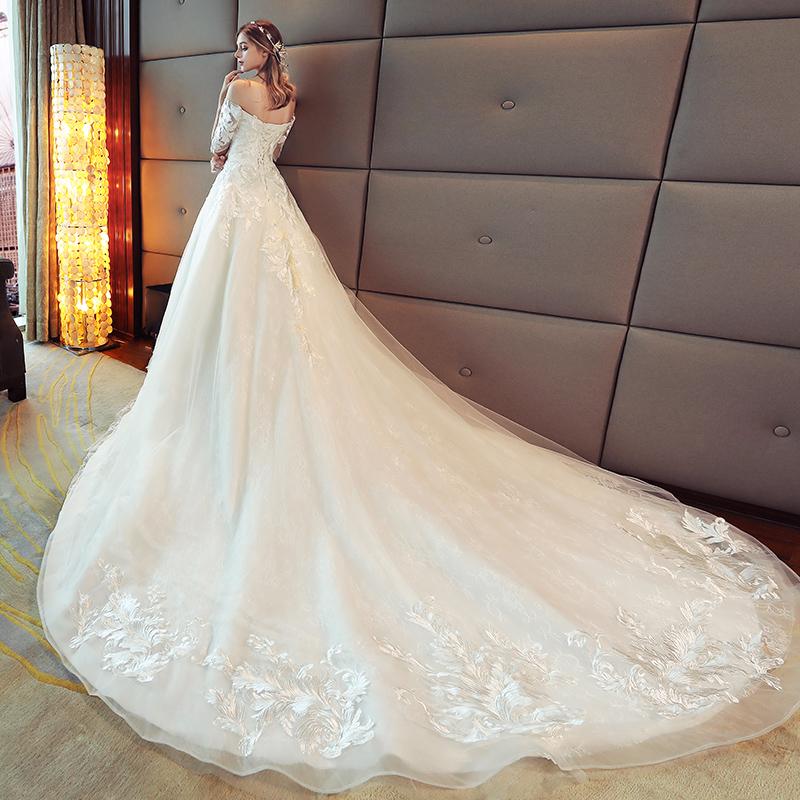 一字肩婚纱礼服2017新款新娘结婚欧美宫廷公主显瘦长