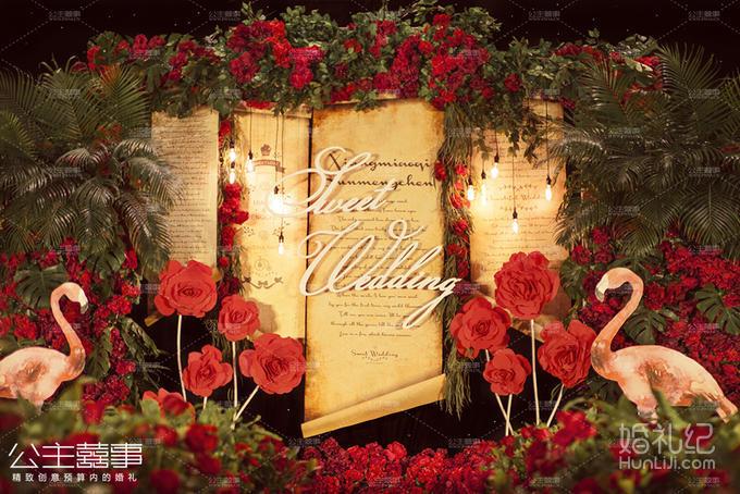 复古灯12只 3.定制红色大花朵9个 4.舞台火烈鸟装饰3个 5.