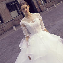 法式清新中袖蕾丝婚纱