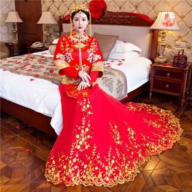 新款婚纱礼服秀禾服新娘中式结婚礼服敬酒服古装女拖尾