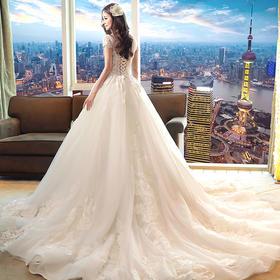 梦幻韩式拖尾一字肩蕾丝新娘结婚公主婚纱礼服