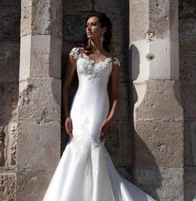 (高端定制)显瘦收腰鱼尾拖尾简约缎面婚纱韩式修身新娘婚纱