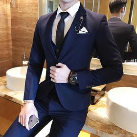 新郎结婚西服套装男士韩版修身三件套小西装男套装伴郎团礼服秋季