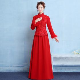 加棉保暖!新娘敬酒服旗袍2018新款长袖加厚保暖长款中式