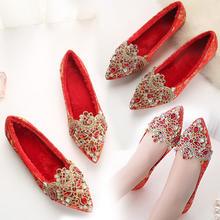 婚鞋女冬季新款2018韩版平底新娘红鞋女红色婚礼鞋中式秀禾鞋