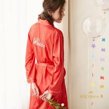 墨缕 婚礼晨袍新娘睡袍18新款bride化妆浴袍欧美字母定制